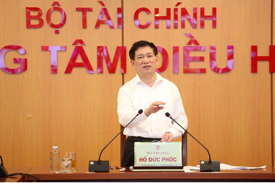 Bộ trưởng Hồ Đức Phớc phát biểu tại Hội nghị giao ban công tác Bộ Tài chính. Ảnh: Đức Minh